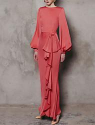 cheap -Sheath / Column Elegant Formal Evening Dress Jewel Neck Long Sleeve Floor Length Polyester with Bow(s) 2021