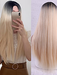 cheap -Synthetic Wig Natural Straight Middle Part Wig Medium Length A15 A16 A17 A18 A19 Synthetic Hair Women's Cosplay Party Fashion Blue Brown