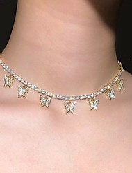 cheap -Women's Choker Necklace Necklace Classic Butterfly Simple Romantic Fashion Cute Imitation Diamond Alloy Rose Gold Blushing Pink Gold Silver 37 cm Necklace Jewelry 1pc For Party Evening Street Gift
