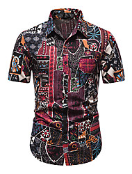 cheap -Men's Shirt Other Prints Abstract Short Sleeve Daily Tops 100% Cotton Fuchsia