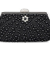 cheap -women's evening bag pearl crystal bag shell handbag fit wedding party beautiful luxury purses (new black)