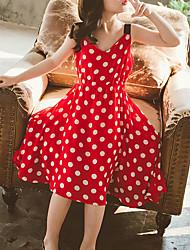 cheap -Kids Little Girls' Dress Polka Dot Holiday Red Midi Sleeveless Cute Dresses Children's Day Summer Regular Fit 3-13 Years