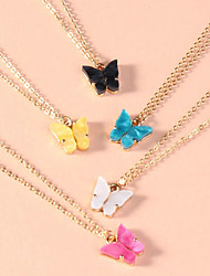 cheap -Women's Necklace Charm Necklace Butterfly Simple Fashion Cute Sweet Acrylic Alloy Gold 40 cm Necklace Jewelry 5pcs For Gift Prom
