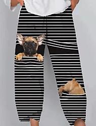 cheap -Women's Plus Size Pocket Print Graphic Animal Dog Sweatpants Ankle-Length Wide Leg Black