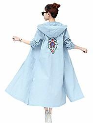 cheap -women summer breathable beach sunscreen jacket uv/sun protection outdoor hooded outerwear long coat (l, blue)