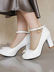 cheap -Women's Heels Chunky Heel Round Toe Microfiber Bowknot Solid Colored White Black Pink