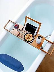cheap -Bamboo Bath Tray with Bathtub Pillow, Bath Tub Frame Telescopic Non-slip Multifunctional Bath Mobile Phone Shelf Shelving Board Bath Tub Shelving TPE Bathtub Pillow, White or Blue Color