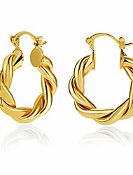 cheap -gold twisted chunky hoop earrings for women, 14k gold plated lightweight hypoallergenic hoops huggies girls ear jewelry gift