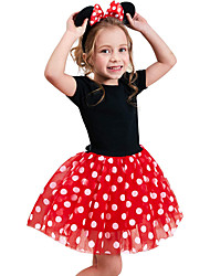 cheap -Toddler Little Girls' Dress Polka Dot Holiday Birthday Party Layered Red Fuchsia Short Sleeve Cosplay Casual Costumes Dresses Summer Slim