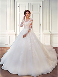 cheap -Ball Gown Wedding Dresses Jewel Neck Court Train Lace Tulle Long Sleeve Plus Size Illusion Sleeve with Lace Appliques 2021