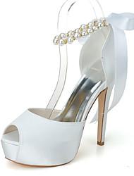cheap -Women's Wedding Shoes Stiletto Heel Peep Toe Wedding Sandals Satin Pearl Ribbon Tie Solid Colored White Black Purple