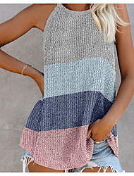 cheap -Women's Stylish Stripe Knitted Color Block Vest Sleeveless Sweater Cardigans Halter Neck Summer Blue Blushing Pink Gray