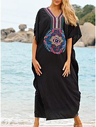 cheap -Women's Swimsuit Cover Up Beach Top Swimsuit Embroidery Slim Solid Color Abstract Big black embroidery on the chest Swimwear T shirt Dress Tunic V Wire Bathing Suits New Fashion Sexy
