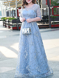 cheap -A-Line Plus Size Elegant Wedding Guest Formal Evening Dress Illusion Neck Half Sleeve Floor Length Lace with Embroidery 2021
