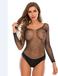 cheap -Women's Mesh Bodysuits Nightwear Solid Colored Black / Blue / Red One-Size