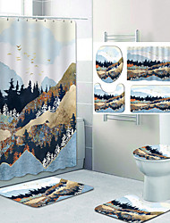 cheap -Beautiful Mountains Pattern Printing Bathroom Shower Curtain Leisure Toilet Four-Piece Design