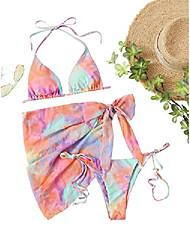cheap -makemechic women's 3pack triangle bikini swimsuit & beach skirt multi orange m