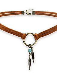 cheap -suede choker necklace for women, native american indian jewelry bohemian feather handmade leather jewelry