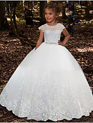 cheap -Ball Gown Floor Length Party / Wedding Flower Girl Dresses - Lace / Tulle Sleeveless Jewel Neck with Pleats / Solid