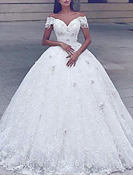 cheap -Princess Ball Gown Wedding Dresses Off Shoulder Floor Length Lace Tulle Short Sleeve Formal Romantic Luxurious with Pleats Appliques 2021