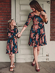 cheap -Mommy and Me Dress Graphic Print Blue Sleeveless Knee-length Matching Outfits