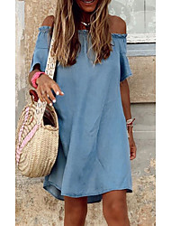 cheap -Women's Denim Dress Knee Length Dress Light Blue Half Sleeve Solid Color Ruffle Spring Summer Off Shoulder Casual Flare Cuff Sleeve Loose 2021 S M L XL