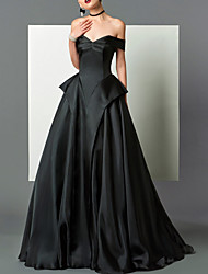 cheap -A-Line Beautiful Back Sexy Engagement Formal Evening Dress Strapless Sleeveless Floor Length Satin with Pleats 2021