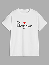 cheap -Men's T shirt Hot Stamping Letter Print Short Sleeve Casual Tops 100% Cotton Basic Casual Fashion White