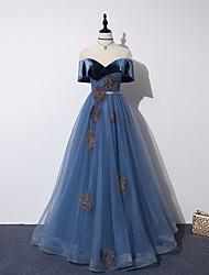 cheap -A-Line Off Shoulder Floor Length Tulle / Velvet Bridesmaid Dress with Appliques