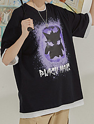 cheap -Men's Unisex T shirt Hot Stamping Cartoon Graphic Prints Plus Size Print Short Sleeve Casual Tops 100% Cotton Basic Casual Fashion White Black