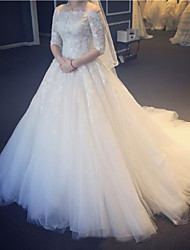 cheap -Princess Ball Gown Wedding Dresses Off Shoulder Court Train Lace Tulle Half Sleeve Formal with Pleats Appliques 2021