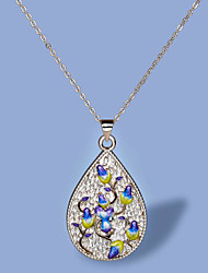 cheap -Women's Necklace Pear Cut Floral / Botanicals Luxury Elegant Boho Brass Silver 50 cm Necklace Jewelry 1pc For Wedding Party Evening Gift