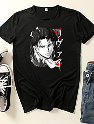 cheap -Inspired by Attack on Titan Cosplay Cosplay Costume T-shirt Polyester / Cotton Blend Graphic Prints Printing Harajuku Graphic T-shirt For Women's / Men's