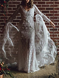 cheap -Sheath / Column Wedding Dresses V Neck Court Train Detachable Lace Long Sleeve Country Sexy with Appliques 2021
