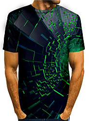 cheap -Men's T shirt 3D Print Graphic 3D 3D Print Short Sleeve Daily Tops Basic Casual Black Blue Green