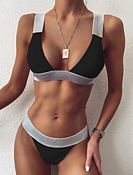 cheap -Women's Bikini Swimsuit Color Block White Black Swimwear Padded Strap Bathing Suits Fashion Sexy