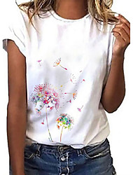 cheap -Women's Dandelion T shirt Graphic Dandelion Print Round Neck Tops Basic Basic Top White