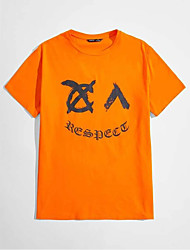 cheap -Men's T shirt Hot Stamping Letter Print Short Sleeve Casual Tops 100% Cotton Basic Casual Fashion Orange