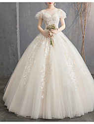 cheap -Princess Ball Gown Wedding Dresses Jewel Neck Floor Length Lace Tulle Short Sleeve Romantic with Beading Appliques Cascading Ruffles 2021