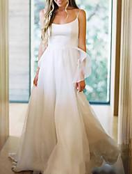 cheap -Sheath / Column Wedding Dresses Spaghetti Strap Chapel Train Chiffon Sleeveless Simple Beach with Pleats 2021