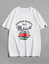 cheap -Men's Unisex T shirt Hot Stamping Car Plus Size Print Short Sleeve Casual Tops 100% Cotton Basic Casual Fashion White