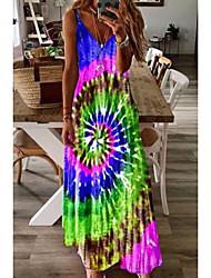 cheap -Women's Strap Dress Maxi long Dress Blue Purple Green Red Light Green Sleeveless Print Print Summer V Neck Elegant 2021 S M L XL XXL 3XL 4XL 5XL / Cotton / Cotton