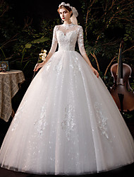 cheap -Princess Ball Gown Wedding Dresses High Neck Floor Length Lace Tulle Half Sleeve Formal Romantic with Appliques 2021