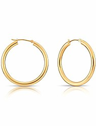 cheap -14k yellow gold classic shiny polished round hoop earrings, 3mm tube (35mm (1.4 inch))