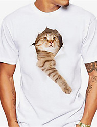 cheap -Men's T shirt Shirt 3D Print Cat Graphic Print Short Sleeve Daily Tops Casual Sports Round Neck Light Pink Black / White Coral Orange / Summer