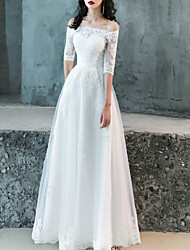 cheap -A-Line Wedding Dresses Off Shoulder Floor Length Lace Tulle Half Sleeve Romantic with Appliques 2021