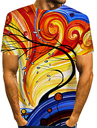 cheap -Men's T shirt 3D Print Graphic Graphic Prints 3D Print Short Sleeve Daily Tops Basic Casual Orange