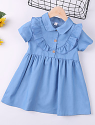 cheap -Kids Toddler Little Girls' Dress Blue Solid Colored Causal Ruffle Blue Above Knee Short Sleeve Regular Basic Cute Dresses Children's Day Summer Regular Fit 3-8 Years