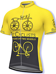 cheap -21Grams Men's Short Sleeve Cycling Jersey Summer Spandex Blue Yellow Orange Patchwork Bike Top Mountain Bike MTB Road Bike Cycling Quick Dry Breathable Sports Clothing Apparel / Athleisure