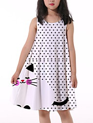 cheap -Kids Little Girls' Dress Cat Polka Dot Animal Print White Knee-length Sleeveless Flower Active Dresses Summer Regular Fit 5-12 Years